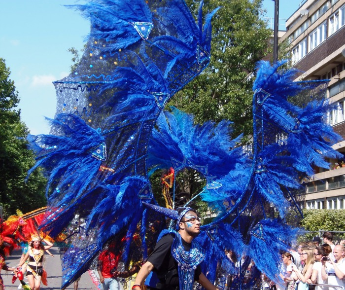 A man wearing a blue winged costume