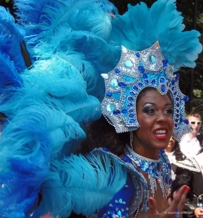 Close up of a dancer at Notting Hill Carnival
