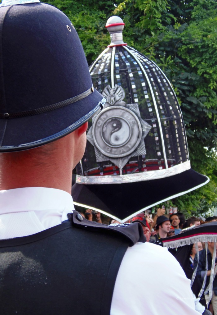 Police float and policeman in Notting Hill