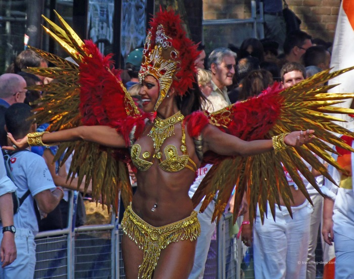 A woman wearing a winged costume