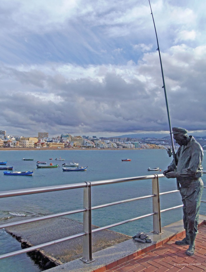 View of the Fisherman sculpture in Las Palmas de Gran Canaria