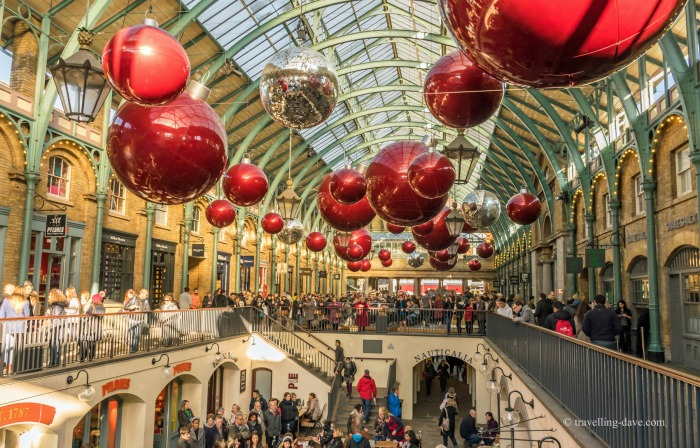 Giant Christmas baubles in Covent Garden