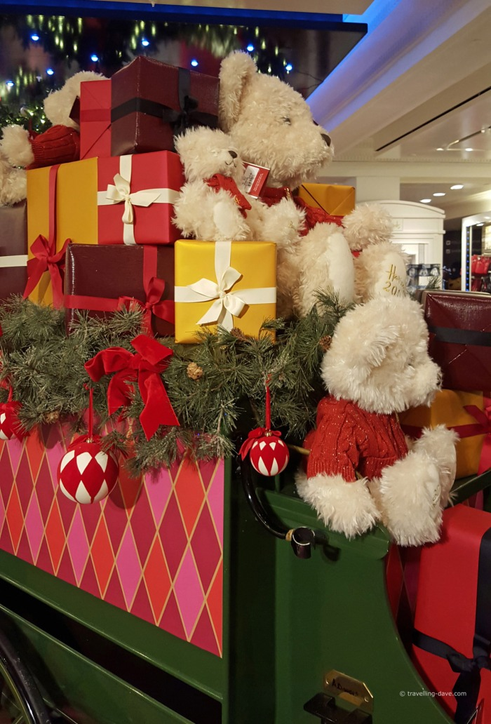 Teddy bears and presents at Harrods