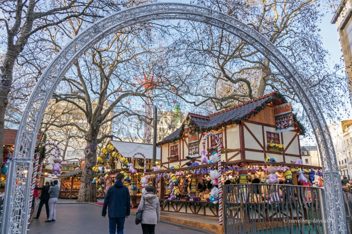 Christmas kiosks in Leicester Square