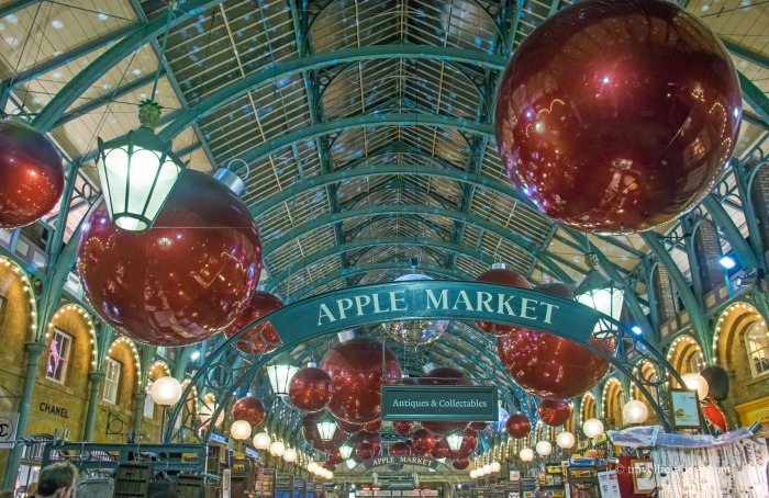 Giant Christmas baubles over the Apple Market