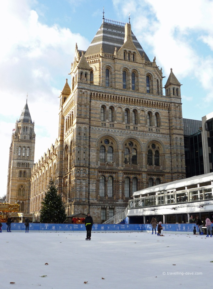 View of the ice skating rink at the Natural History Museum