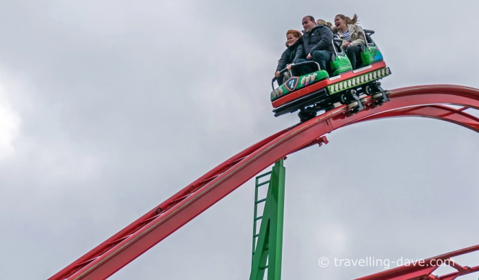 People on a rollercoaster car