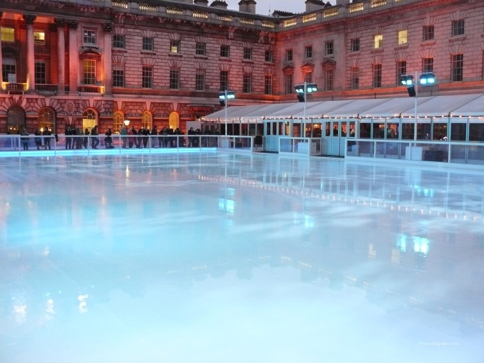 View of the ice-skating rink at Somerset House