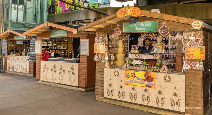 View of London Southbank Christmas Market stalls