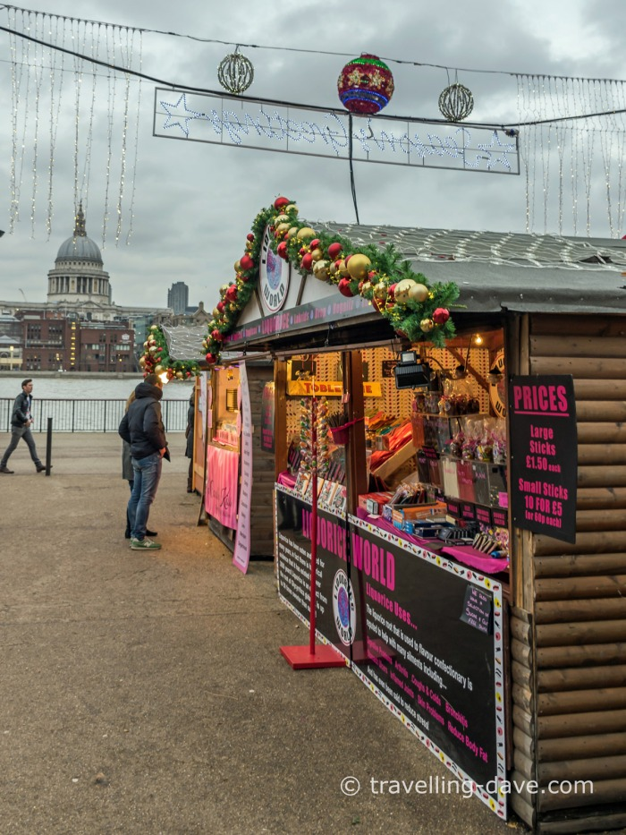 Christmas Market stalls outside the Tate Modern