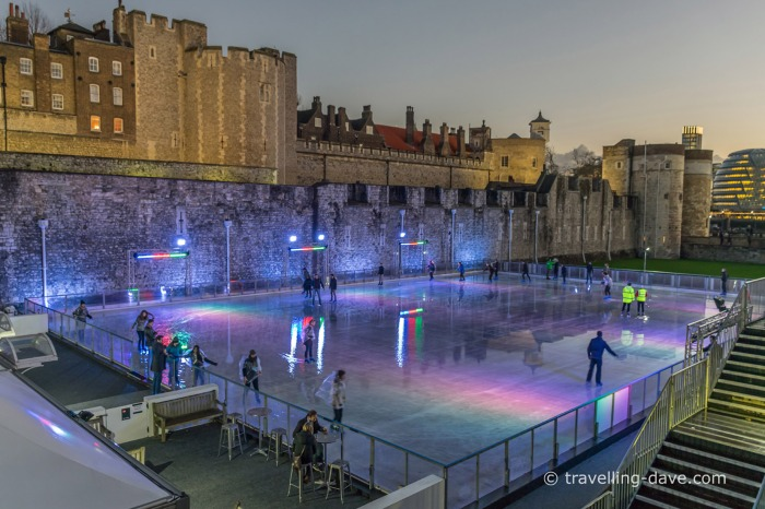 View of the Tower of London ice skating rink