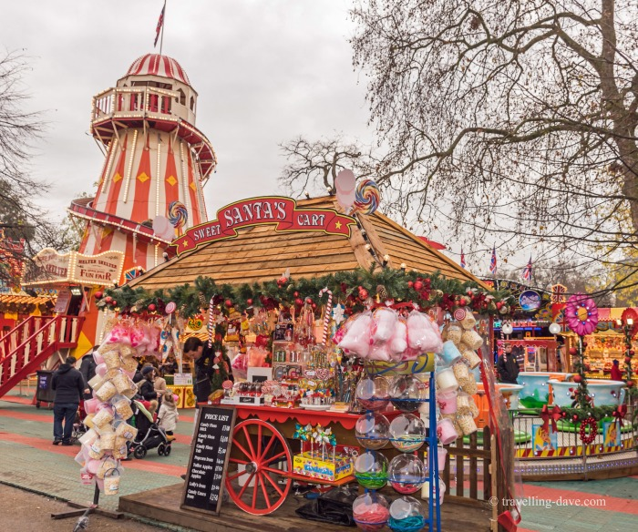 Stall and Helter Skelter at Winter Wonderland