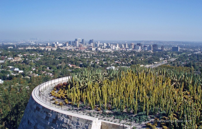 View of the cactus garden at the Getty Center