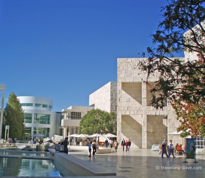 View of some of the buildings of the Getty Center