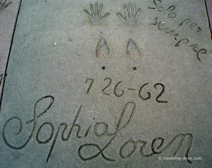 Handprints on the pavement of TLC Chinese Theater