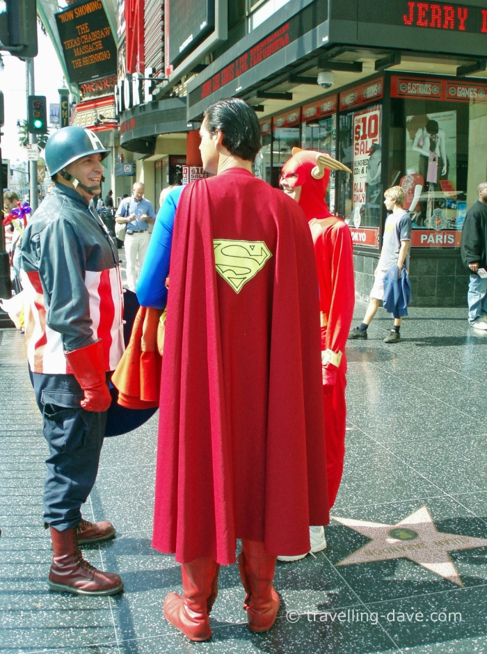 Some of the famous Sidewalk Characters on Hollywood Boulevard