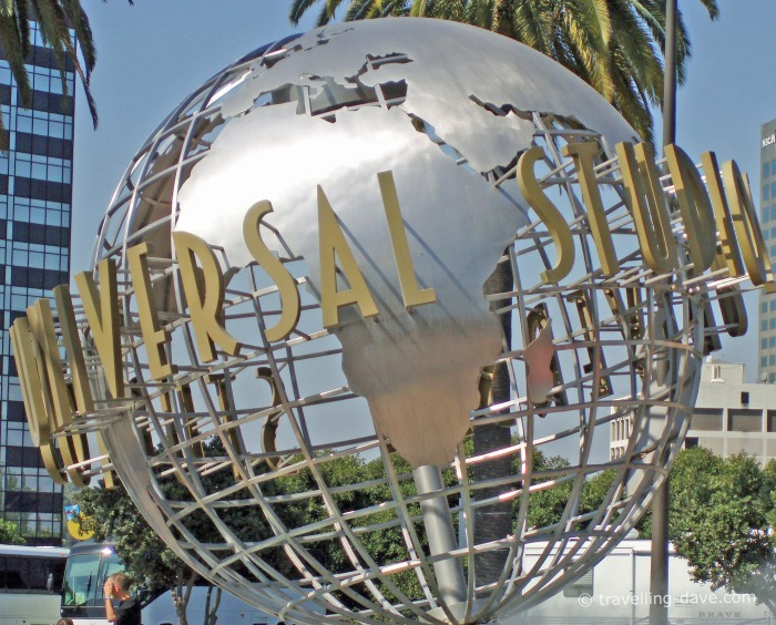 View of the globe at the entrance to the Universal Studios