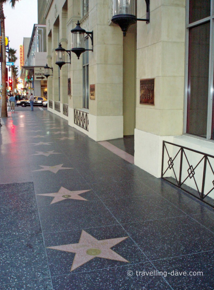 Stars on the pavement on the Walk of Fame