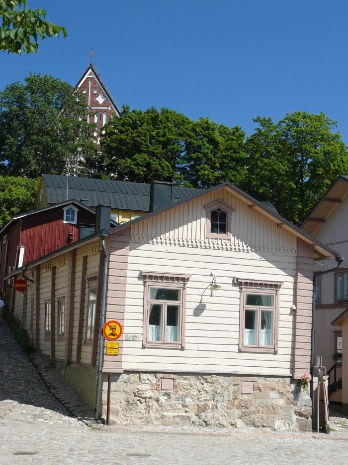 View of Porvoo Cathedral and a wooden house