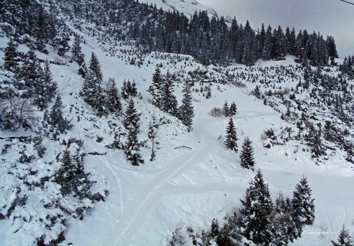 Heavy snow on the mountain near Innsbruck