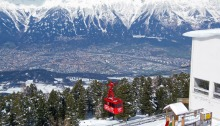 View of the red Patscherkofel cable car
