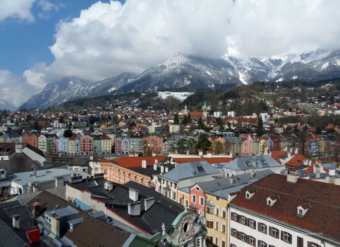 Rooftops and mountains seen from Innsbruck City Tower