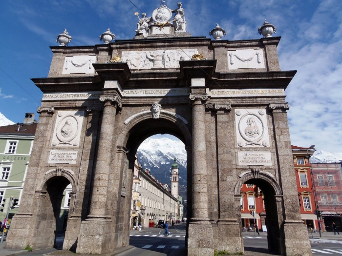 Looking up at Innsbruck Triumphal Arch