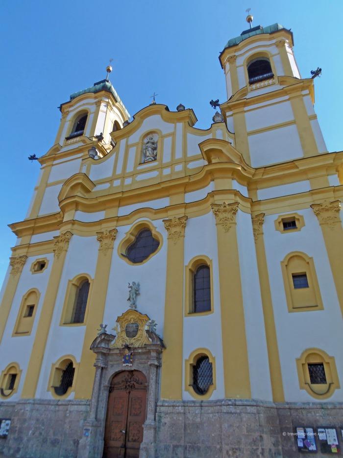 Looking up at Innsbruck Wilten Basilica