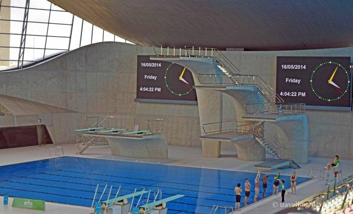 View of London Aquatics Center diving pool