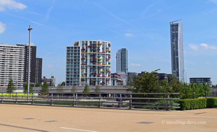 View of buildings by London's Olympic Park
