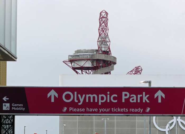 View of a direction sign to the Queen Elizabeth Olympic Park