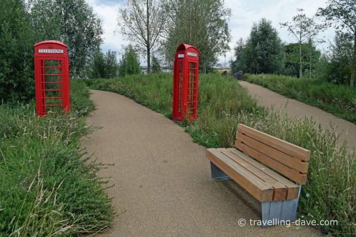 View of a bench in London's Olympic Park