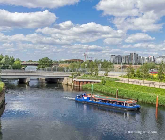 View of a boat on the river at London's Olympic Park