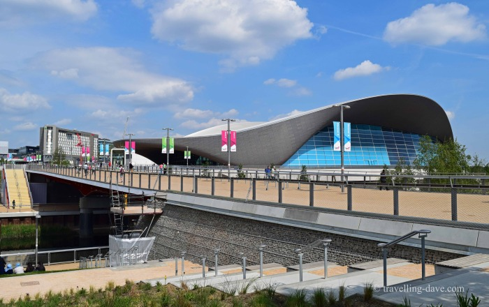 View of a bridge and the Aquatics Center in London