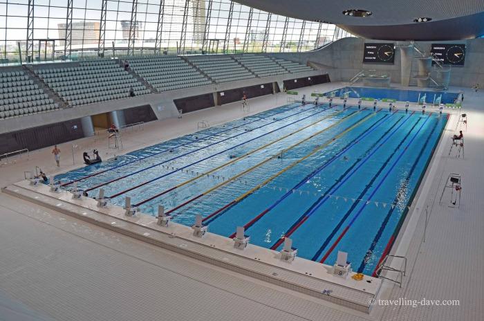 View of the London Aquatics Center pool