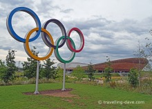 View of the velodrome and the Olympic Rings