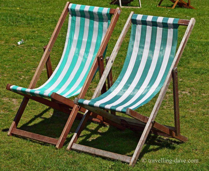 White and green stripes deck chairs