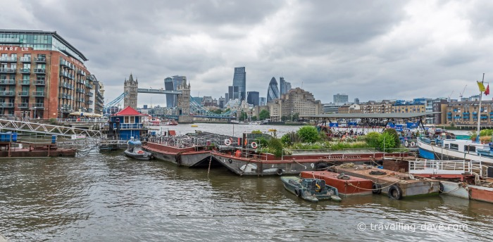 View of Tower Bridge and barges