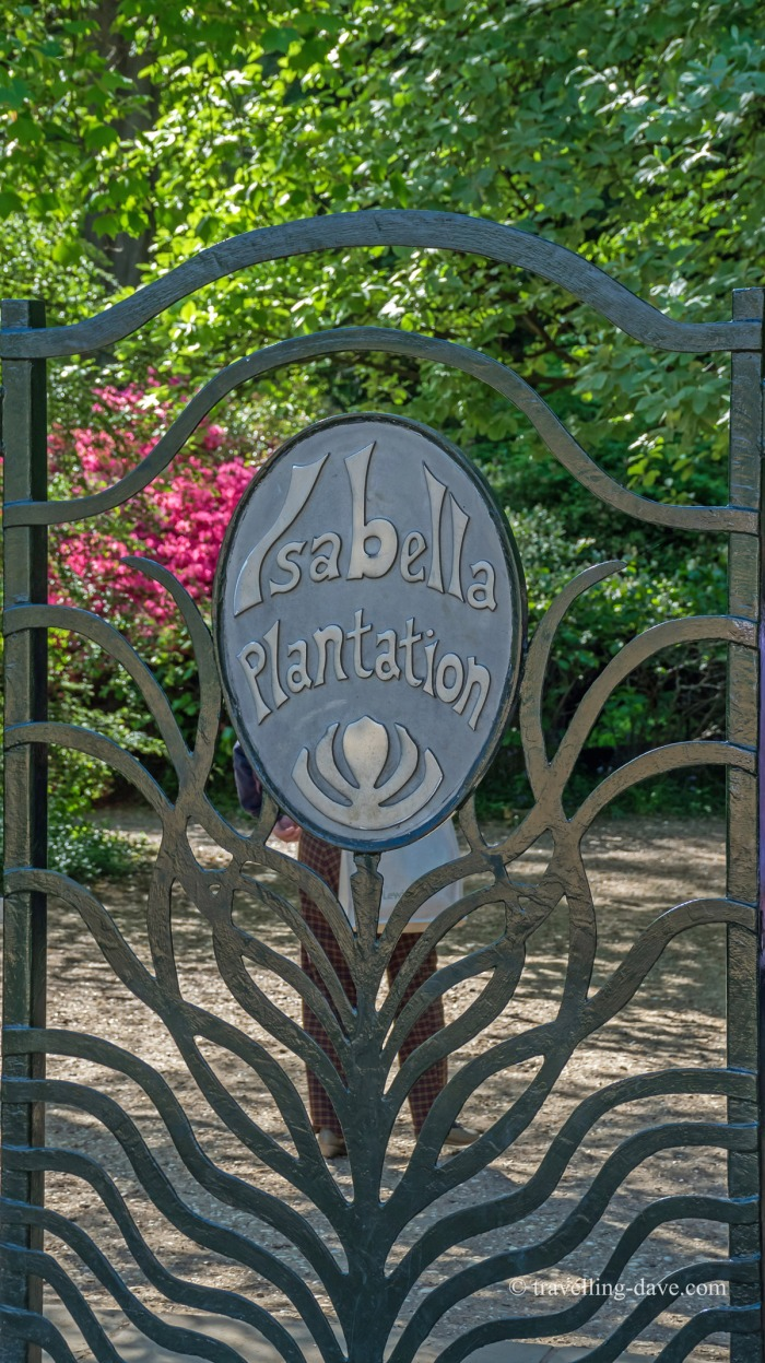 View of the gate at the entrance of the Isabella Plantation