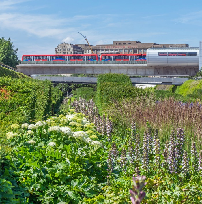 View of a red train from the Thames Barrier Park