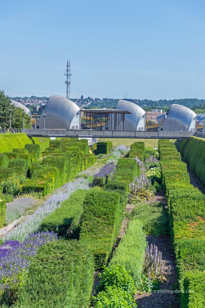 Panoramic view of London's Thames Barrier Park