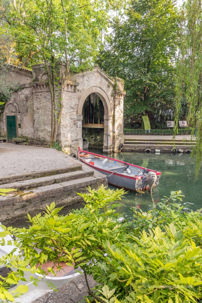 View of a boat by the boathouse
