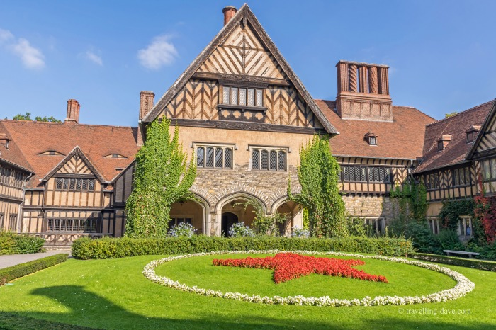 View of Cecilienhof Palace with a red star at the front