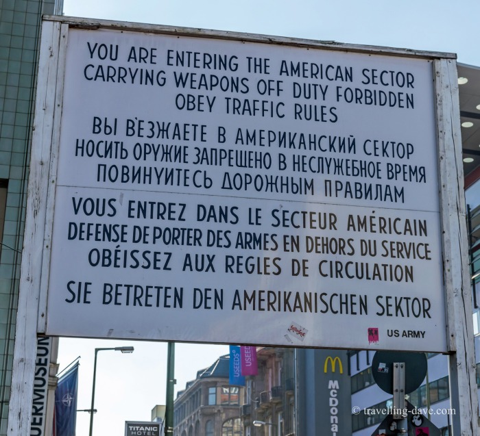 View of the warning sign at Checkpoint Charlie