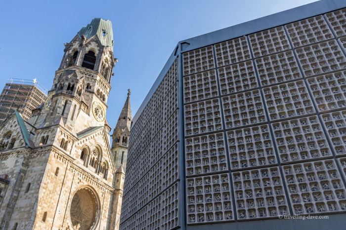 View of the new and old buildings of Kaiser Wilhelm Memorial Church