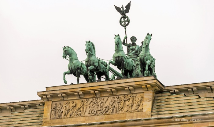 Close up of the quadriga on the Brandenburg Gate