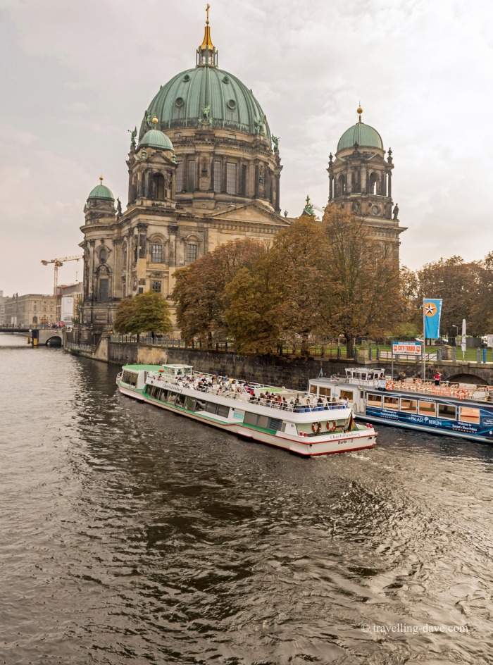 A tourist boat cruising on the river Spree