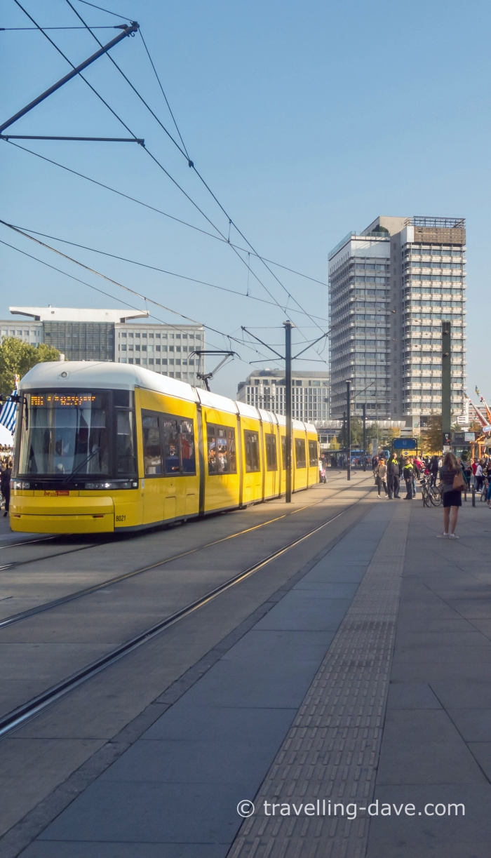 A yellow tram in Berlin
