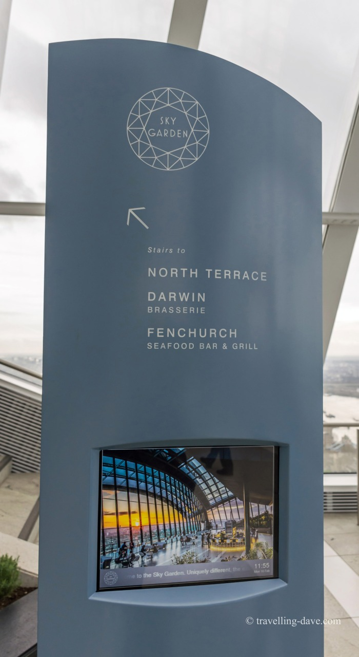 View of one of the Sky Garden directions totem