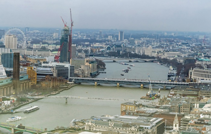 View of the river Thames bridges from the Sky Garden